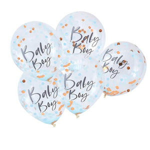 Blue & Rose Gold Baby Boy Confetti Balloons - Must Love Party