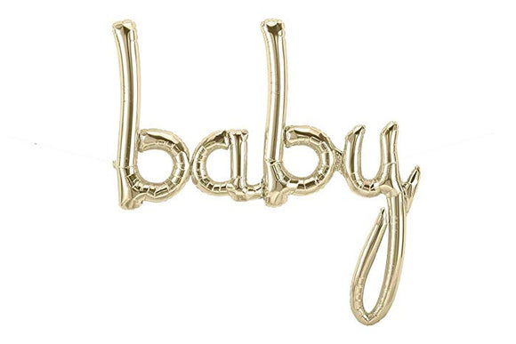 White Gold BABY Script Balloon - Must Love Party