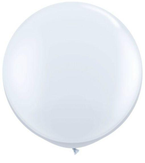 Jumbo Latex Round Balloon - White - Must Love Party