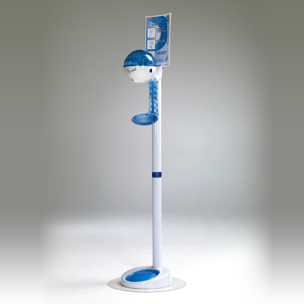 32oz Dispenser w/ Floorstand & Drip Tray White/Blue + Blue Drip Tray
