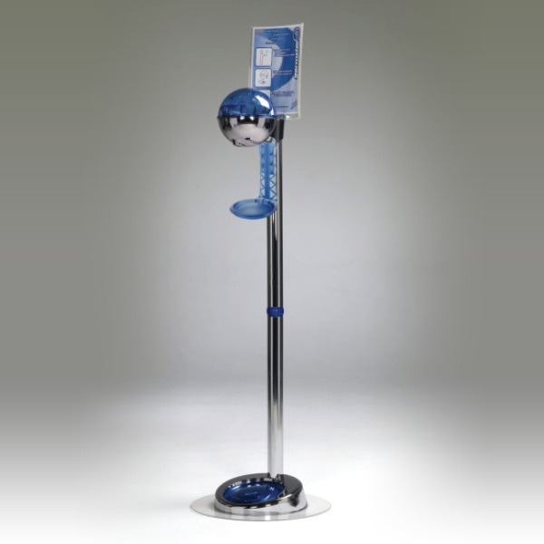 32oz Dispenser w/ Floorstand & Drip Tray Chrome/Blue