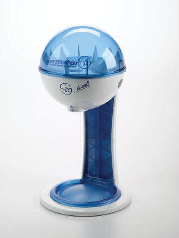 32oz Dispenser w/ Tablestand White/Blue + White/Blue Tablestand