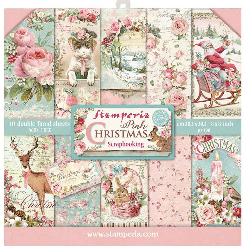"Stamperia Double-Sided Paper Pad 8""X8"" 10/Pkg-Pink Christmas, 10 Designs/1 Each"