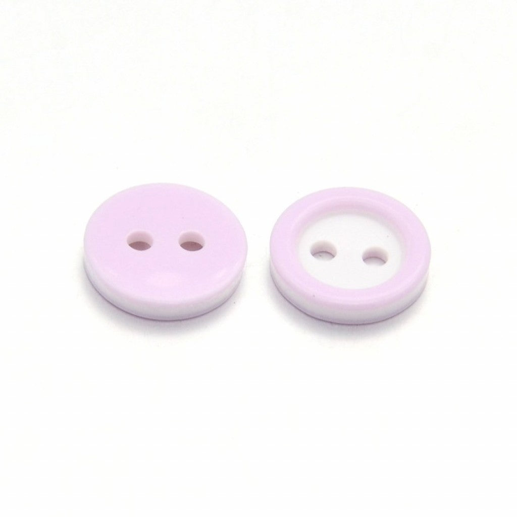 Knapp i Epoxy, 11mm - Ring Pearl Pink/Lilac