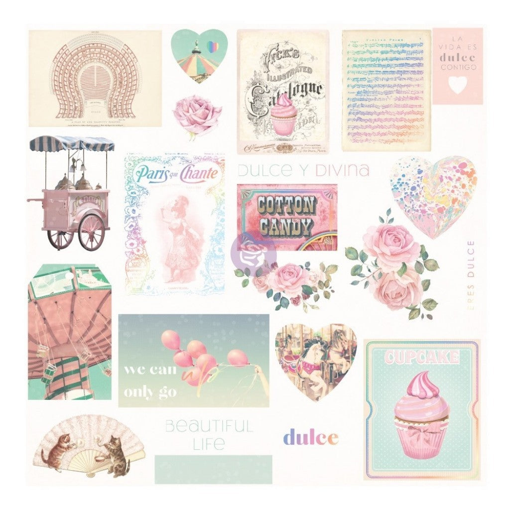 Dulce By Frank - Garcia Cardstock Ephemera 24/Pkg-Shapes, Tags, Words, Foiled Accents