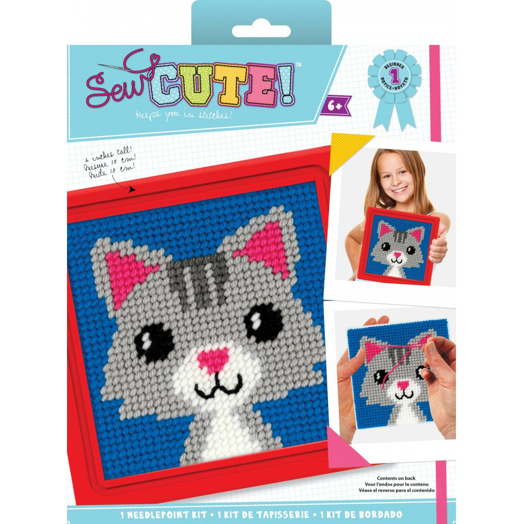 "Sew Cute! Lola Cat Needlepoint Kit-6""X6"" Stitched In Yarn"