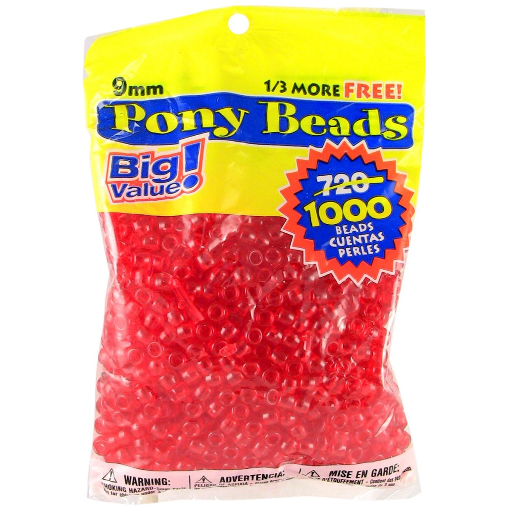 Pony Bead Big Value Pack 9mm 1000/Pkg-Transparent Red