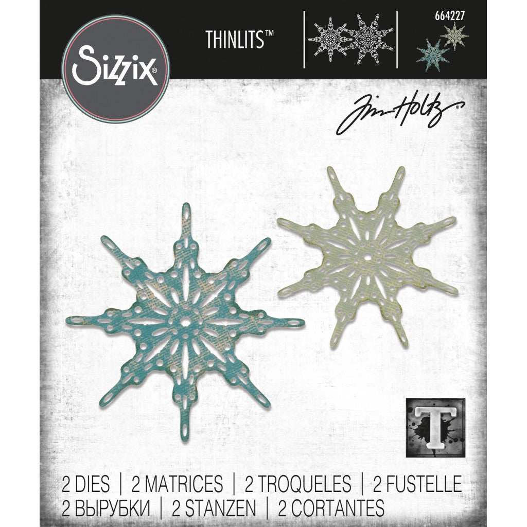 Sizzix Thinlits Dies By Tim Holtz 2/Pkg-Fanciful Snowflakes
