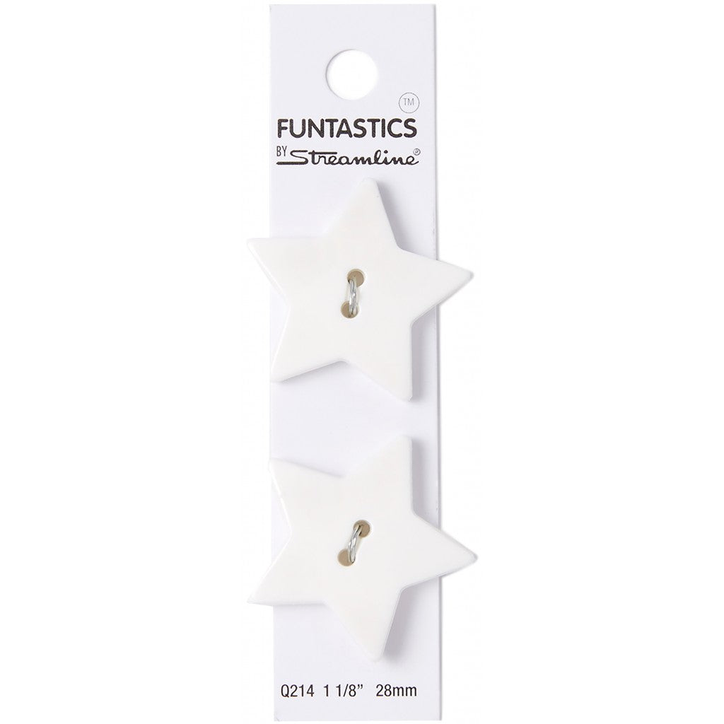 Slimline Knapper 2stk, 29mm - White Star (SLF-214)