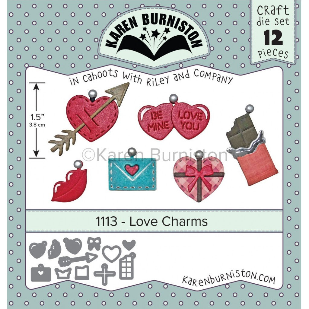 Dies - Karen Burniston Love Charms (12stk)