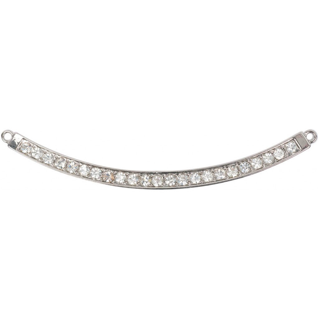 Anheng - Estrella DIY Jewelry, Large Curved Bar W/Crystals & 2 Loops