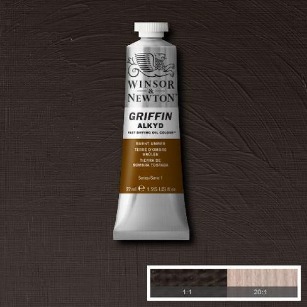 W&N Griffin Alkyd - 076 Burnt Umber 37ml