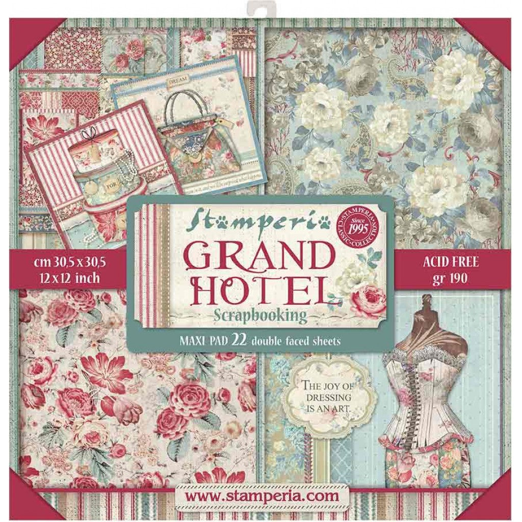 "Stamperia Double-Sided Paper Pad 12""X12"" 22/Pkg-Grand Hotel, 22 Designs/1 Each"