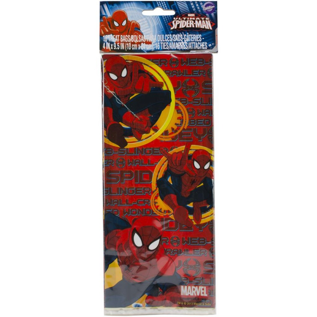 "Treat Bags-Spider-Man 16/Pkg 4""X9.5"""
