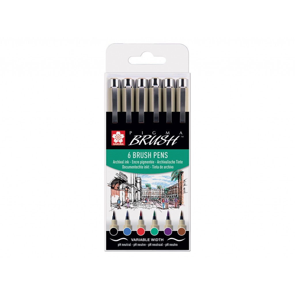 Sakura Pigma Micron Brush - Set 6stk