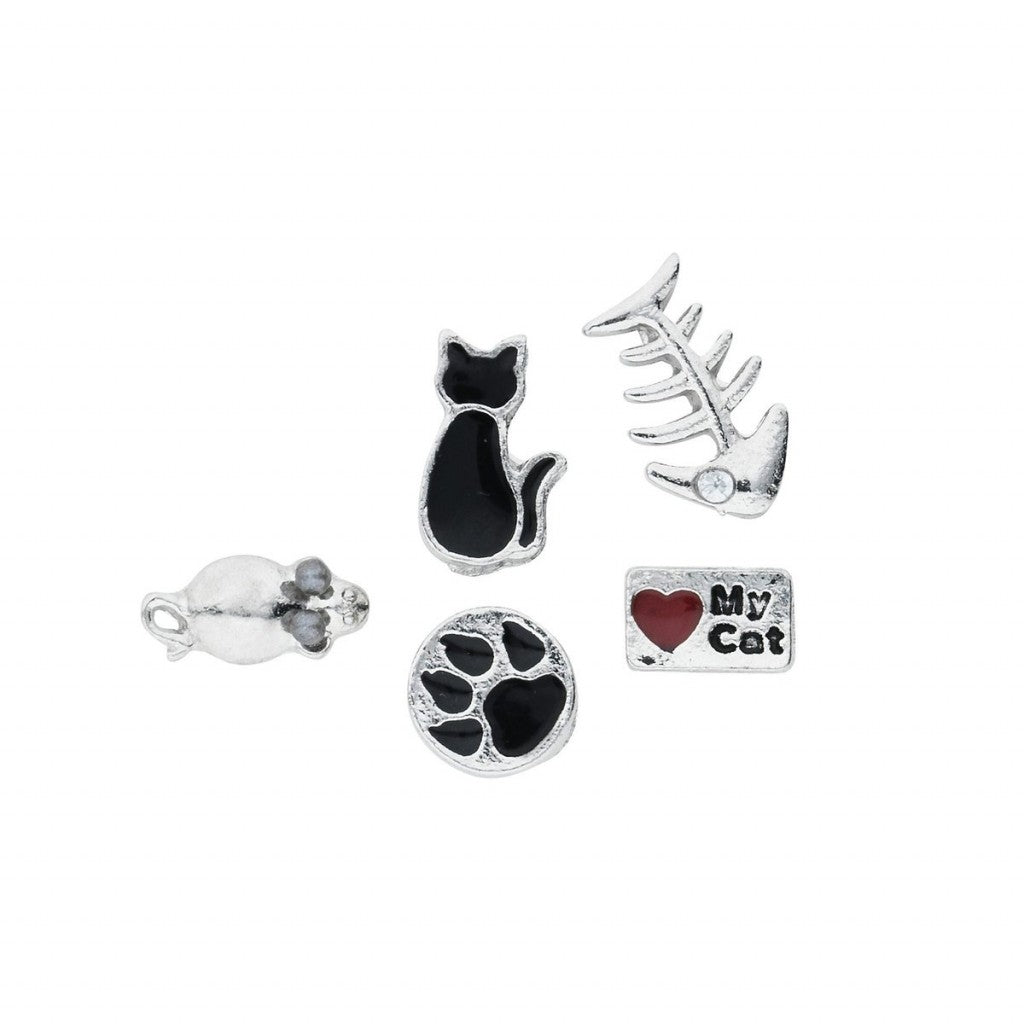 Metal locket Charms Cat 5pk