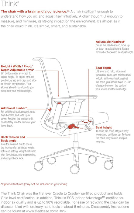 Used Steelcase Think 3D Ergonomic Task Chair