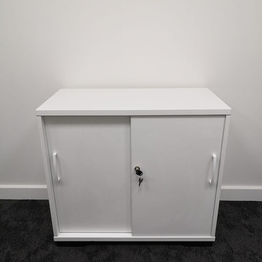 White Sliding Door Desk High Cupboard