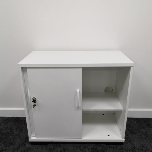 Used White Sliding Door Desk High Cupboard