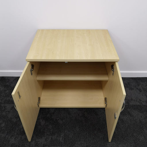Used Maple Desk High Storage Cupboard