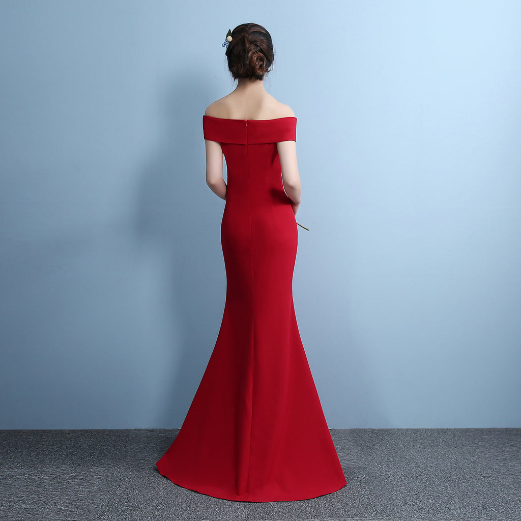 Mermaid Designer Evening Gowns Side Split Red Prom Dress Sexy Long ...