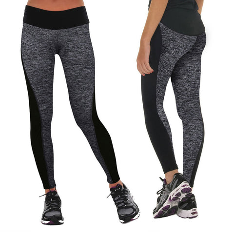 Gray elastic yoga/running pants