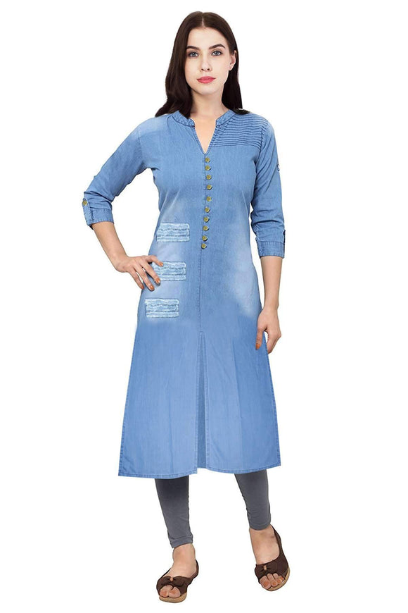 LIGHT BLUE DENIM ROUGH STRAIGHT FIT STYLISH KURTA