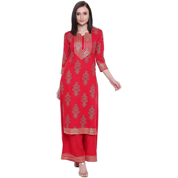 RAYON FOIL PRINTED STRAIGHT FIT STYLISH KURTA AND PRINTED PALAZZO SET