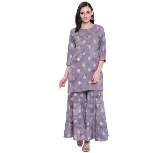 WOMEN'S STYLISH GREY FOIL PRINTED KNEE LENGTH STRAIGHT FIT KURTA AND SHARARA SET