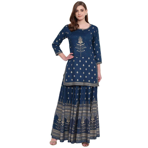 PINKY PARI BLUE RAYON STARIGHT STITCHED SUIT