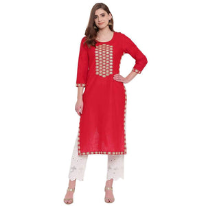 PINKY PARI RED COTTON STRAIGTH FIT KURTI