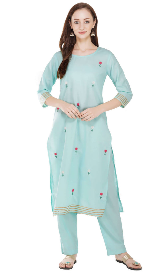 EMBROIDERED STRAIGHT KURTA WITH FLARED EMBROIDERED PALAZZO