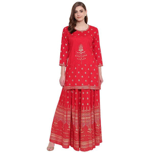 PINKY PARI RED RAYON STRAIGHT STITCHED SUIT