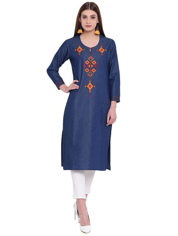 DARK BLUE DENIM STRAIGHT FIT KEY-HOLE NECK STYLISH KURTA