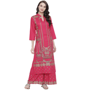 PINK RAYON STRAIGHT FIT FOIL PRINTED KURTA AND PALAZZO SET