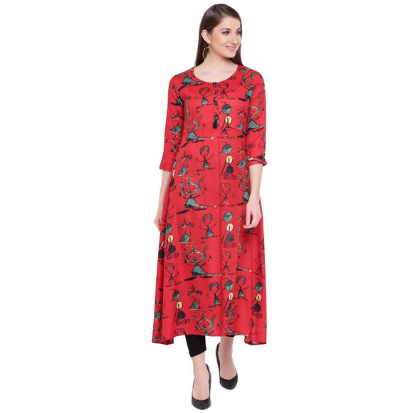 FLARED RED PRINTED RAYON LONG KURTA