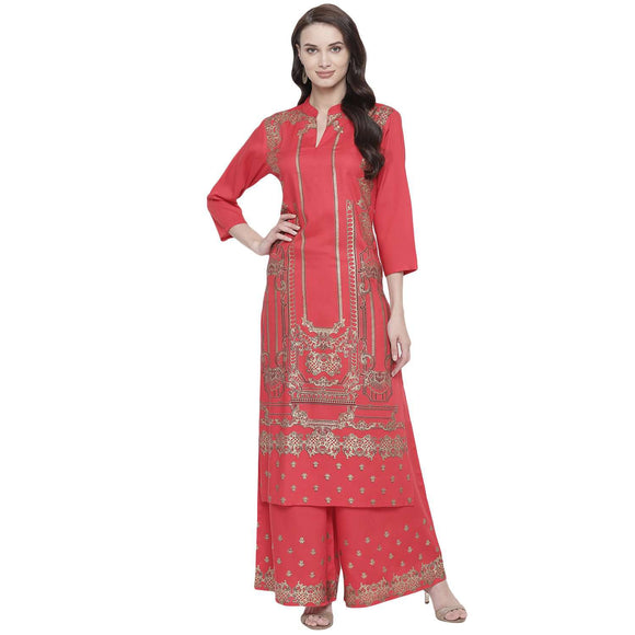 RED RAYON STRAIGHT FIT FOIL PRINTED KURTA AND PALAZZO SET