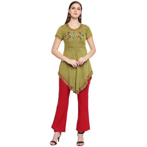 Casual Short Sleeve Embroidered Women Green Top