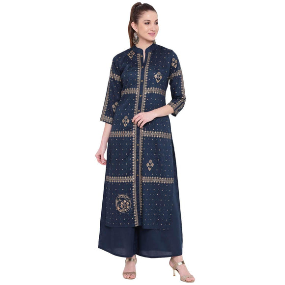 LOPA FOIL PRINT RAYON STRAIGHT FIT LONG KURTA AND FLARED PALAZZO SET