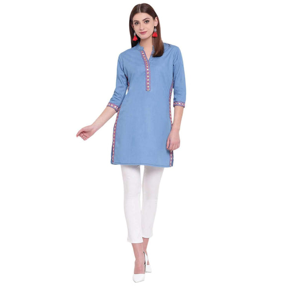 PINKY PARI SHORT DENIM EMBROIDERED BLUE STYLISH KURTI