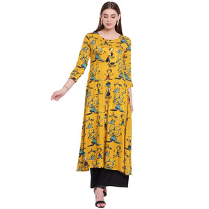 LOPA FLARED YELLOW PRINTED RAYON LONG KURTA
