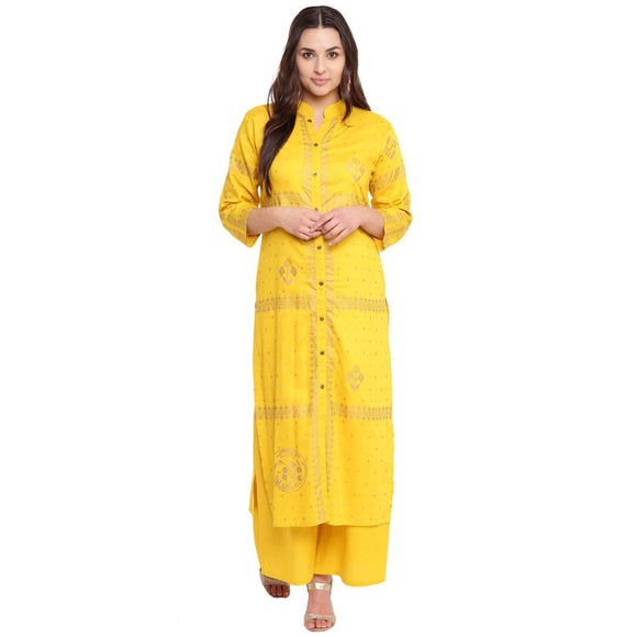 PRINTED STRAIGHT FIT YELLOW KURTA WITH FLARED PRINTED PALAZZO