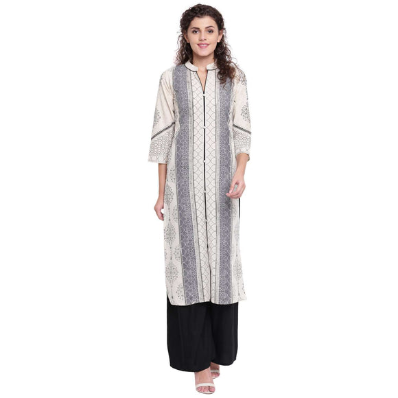 COTTON PRINTED OFF-WHITE STRAIGHT FIT KURTI