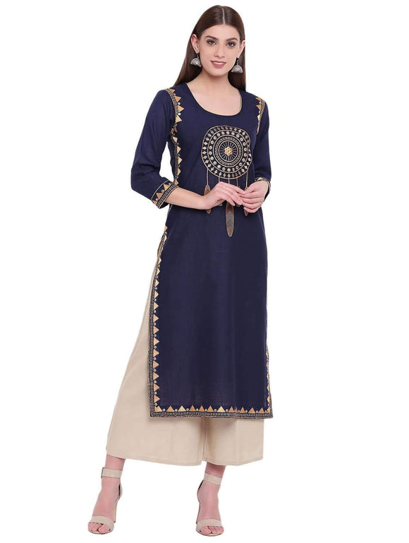 COTTON EMBROIDERED BLUE STRAIGHT FIT KURTI
