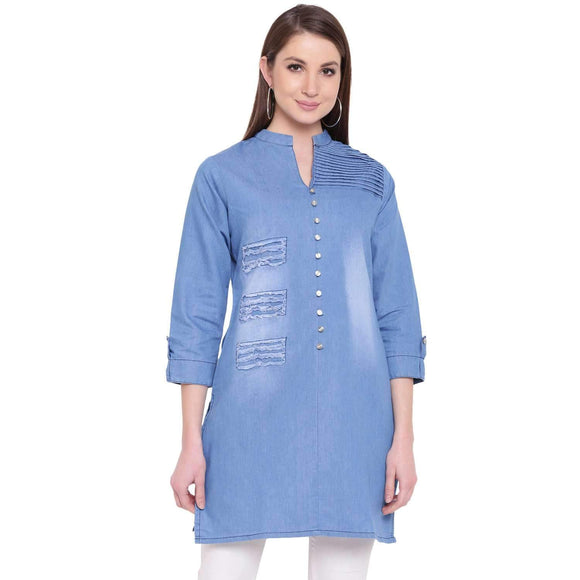 PINKY PARI ROUGH DENIM LIGHT BLUE SHORT STYLISH DENIM KURTA