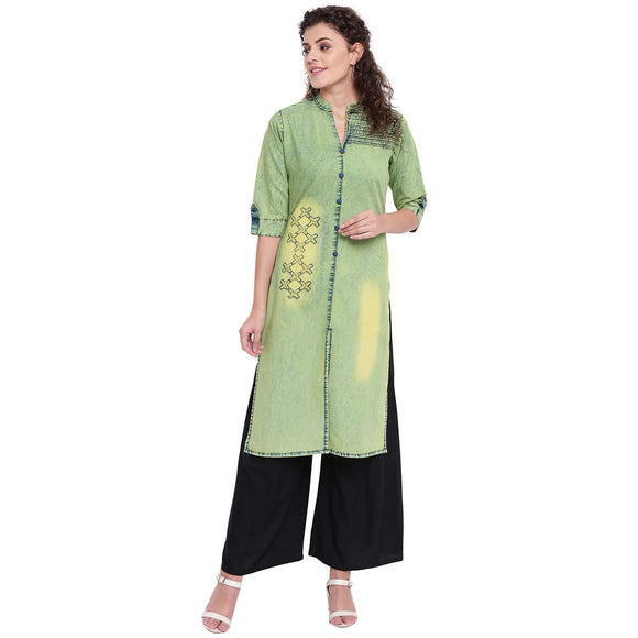 LIGHT GREEN DENIM ROUGH STRAIGHT FIT STYLISH KURTA