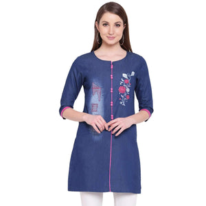 PINKY PARI SHORT DENIM ROUGH AND EMBROIDERED BLUE STYLISH KURTI