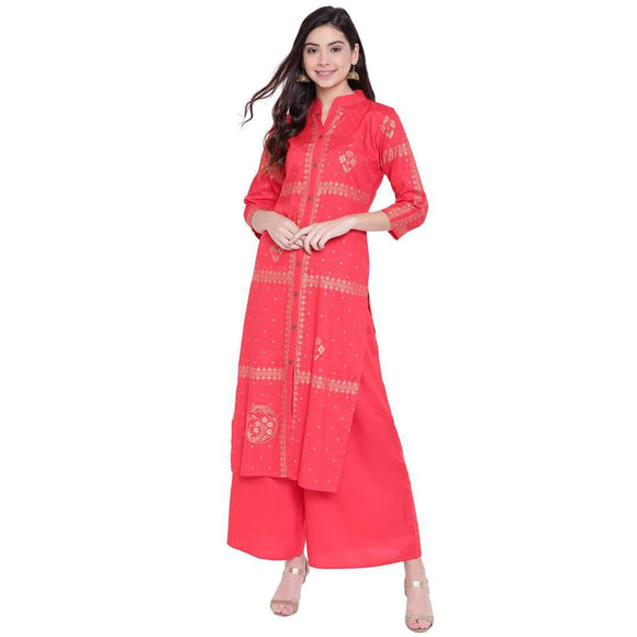 RAYON PRINTED LONG STRAIGHT FIT KURTA AND FLARED PALAZZO SET