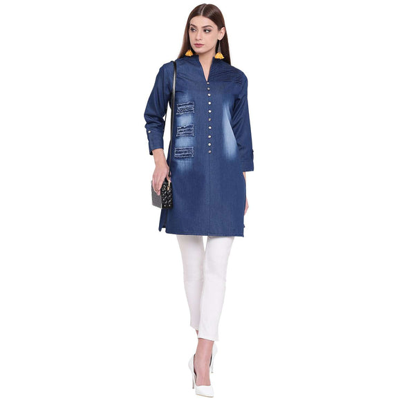 PINKY PARI ROUGH DENIM DARK BLUE SHORT STYLISH DENIM KURTA