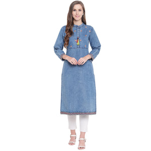 BLUE DENIM EMBROIDERED STRAIGHT FIT KURTI